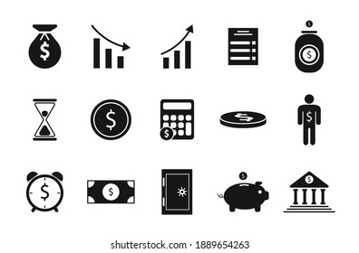 Set of banking icons: dollar, piggy bank, coins, cents, safe, bank, time is money, agreement, investment