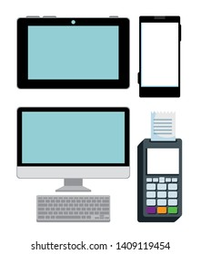 set banking technology with dataphone payment and transaction