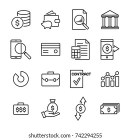 Set of banking thin line icons. High quality pictograms of money. Modern outline style icons collection.