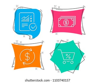 Set of Banking, Usd exchange and Checked calculation icons. Special offer sign. Money payment, Currency rate, Statistical data. Discounts.  Flat geometric colored tags. Vivid banners. Vector