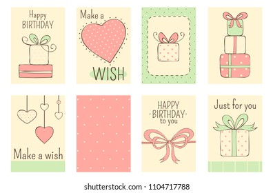 Set of banner, background, flyer, placard in naive hand drawn style in pastel color, with inscription. Birthday labels for scrapbooking. Vector template card for greeting, decoration, congratulation
