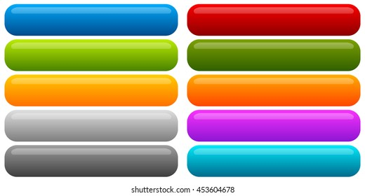 Set of banner, button background. Horizontal rectangular buttons with empty space for your message. Tags, labels.