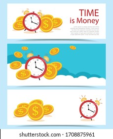 Set Banner concept Time is money, on blue clouds. Business and finance management, mutual fund, annual payment, make money. Flat style vector illustration.