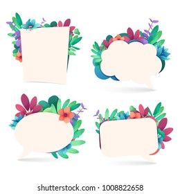 Set banner design template with floral decoration. The bubble frame with the decor of flowers, leaves, twigs. Invitation with place for text on a background summer and spring bouquet. Vector.