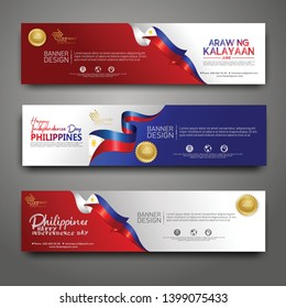Set banner design template. Happy Independence Day Philippines modern background