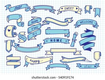 Set of banner doodle on paper background