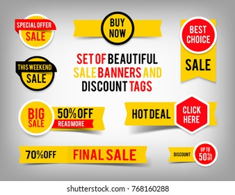 Set of banner elements, offer tag vector collection, discount label design, sale web coupons. Promotion badge icons, retail sign collection, best price business poster