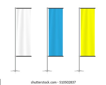 set of banner flags templates isolated on white background. mock up of realistic trade exhibition stand displays. blank event flags. beach flag mockup