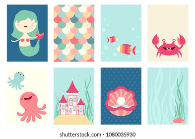 Set of banner, flyer, placard with cute mermaid, fish, octopus, crab, castle. Poster set for scrapbooking. Vector template card for greeting, decoration, congratulation. Copy space for text. EPS8
