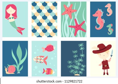 Set of banner, flyer, placard with cute mermaid, fish, starfish, sea horse; pirate. Sticker for scrapbooking. Vector template card for greeting, decoration, congratulation. Copy space for text. EPS8