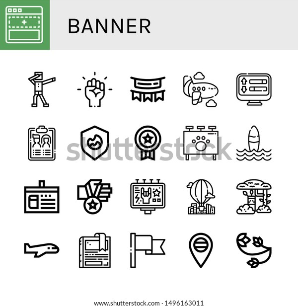 Set Banner Icons Such Add Dab Stock Vector Royalty Free 1496163011