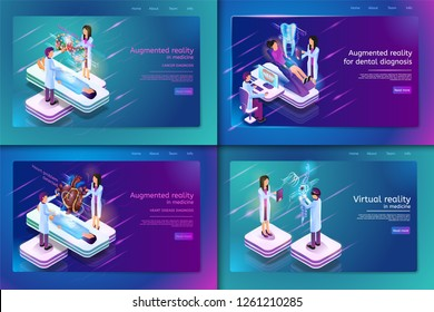 Set Banner Isometric Medical Treatment for Patient. Vector Illustration Augmented Reality in Madicine Cancer Diagnosis, Heart Disease Diagnosis, Augmented Reality for Dental Diagnosis, Virtual Reality