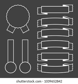 A set of banner ribbons with a white stroke on a black background. Vector illustration.