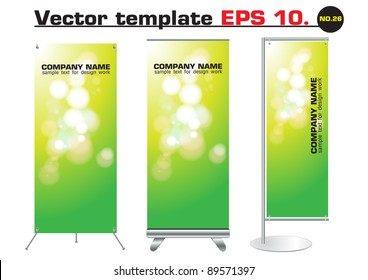Set of banner stand display with green bokeh abstract light identity background ready for use. Vector template for design work