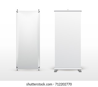 Set of banner stand. Flip Chart for training or promotional presentation. Design template, blank pop up banner display, template for designers. Vector illustration. Isolated on white background