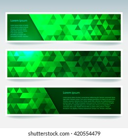 Set of banner templates with abstract background. Modern vector banners with polygonal background. Neon green color.