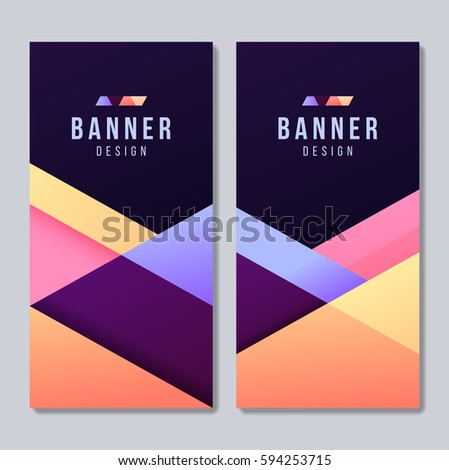 set banner templates bright modern abstract stock vector royalty