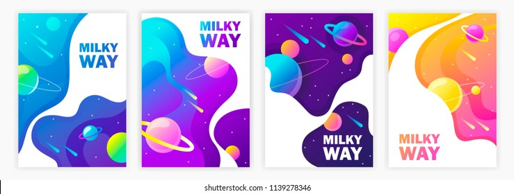 set of banner templates. Milky Way. space. design. vector illustration