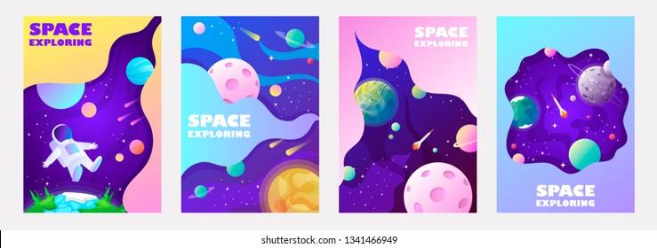 set of banner templates. universe. space. space trip. universe. design. vector illustration