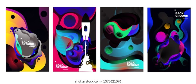 set of banner templates. universe. space. space trip. design. vector illustration.