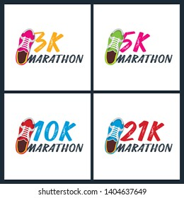 Set of banners. 3K, 5K, 10K and 21K Marathon Run Event with sneakers. Vector illustration