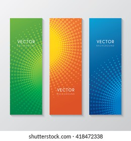 a set of banners with abstract halftone circle