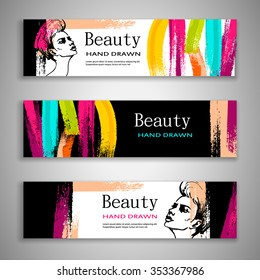 Set of banners with acrylic, and beautiful girl, drawing hands. Three flyer design for beauty salons. Vector illustration.