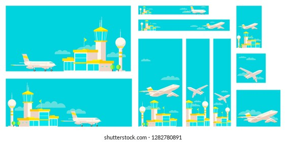 Set of banners airport terminal building and airplane.
