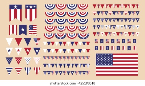 Set of banners for American holidays; such as Memorial Day, Independence Day, Veterans Day, etc. Vector eps10.