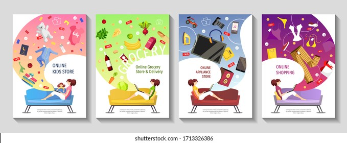 Set of banners for Appliance, grocery, clothing and baby store, Online shopping. Young woman sitting on the sofa and ordering products. A4 Vector illustrations for poster, banner, flyer, commercial.