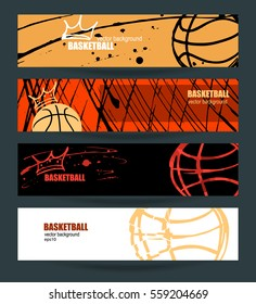 Set of banners for basketball. Grungy texture. Abstract background. Polygon style. The ball with the crown. EPS file is layered(clipping mask).