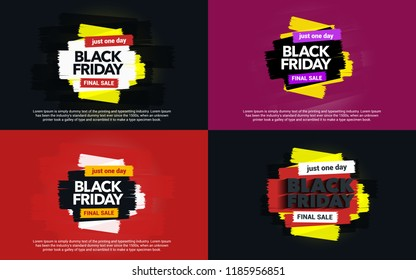 A set of banners Black Friday sale. Abstract ink blots on a background. Great discounts. Brush strokes. Black Friday template for banner or poster. Template design for ads. Vector illustration