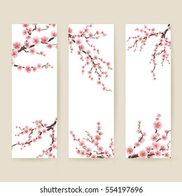 Set of banners with blossom sakura flowers. EPS 10 vector file included