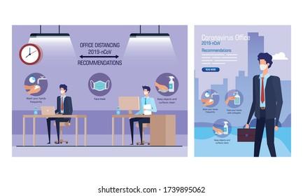 mettre des bannières de campagne distancer la société et des recommandations à la conception de l'illustration vectorielle de bureau