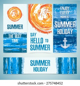 A set of banners, cards, headers for the summer holidays. Texture of water and the silhouette of the sun. Place for your text. Vector.