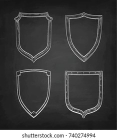 Set of banners. Chalk sketch of vintage shields on blackboard background. Hand drawn vector illustration. Retro style.