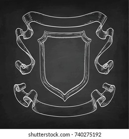 Set of banners. Chalk sketch of vintage ribbons and shield on blackboard background. Hand drawn vector illustration. Retro style.
