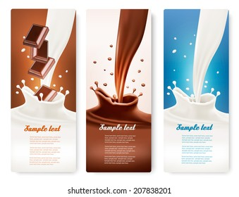 Set of banners with chocolate and milk splashes. Vector.