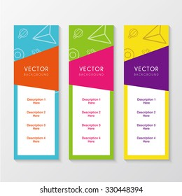 a set of banners with colorful background