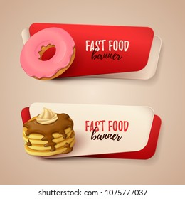 Set of banners with colorful objects on fast food theme. Vector Illustration
