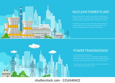 Set of Banners with Electric Power Transmission from a Nuclear Plant, Thermal Power Station on the Background of the City and Text, Vector Illustration