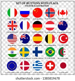 Set of banners with flags. Colorful illustration with flags of the world for web design. Vector illustration with transparent background.