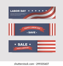 Set of banners with flags for the Labor Day in America. Vector illustrations with text discounts