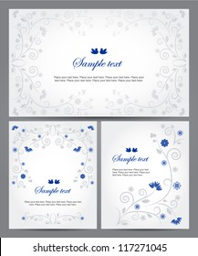 Set of banners with floral ornament. Vector background. Easy to edit. Perfect for invitations or announcements.