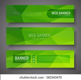 Set of banners with green abstract polygonal background, transparent frames and text. Vector illustration.