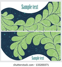 Set of banners with a green pattern