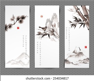 "Set of banners hand-drawn in traditional Japanese style sumi-e. Vector illustration. Hand-drawn with ink. Sealed with hieroglyphs ""luck' and ""happiness"""