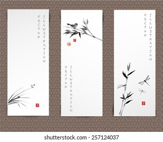"Set of banners hand-drawn in traditional Japanese style sumi-e. Vector illustration. Sealed with hieroglyphs ""luck' and ""happiness"""