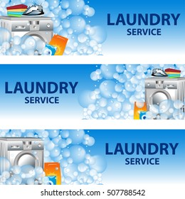 Set banners laundry service. Poster template for house cleaning services. Vector illustration.