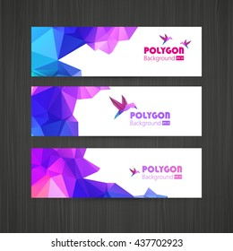 Set of Banners with Multicolored Polygonal Mosaic Backgrounds.